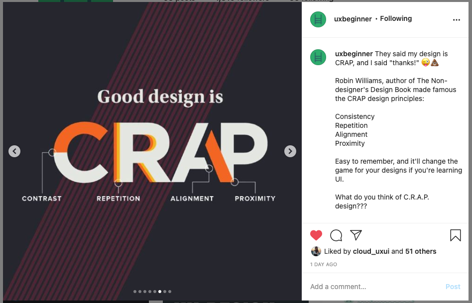 """Screenshot of Instagram post with image reading """"good design is crap - contrast, repetition, alignment, proximity"""""""