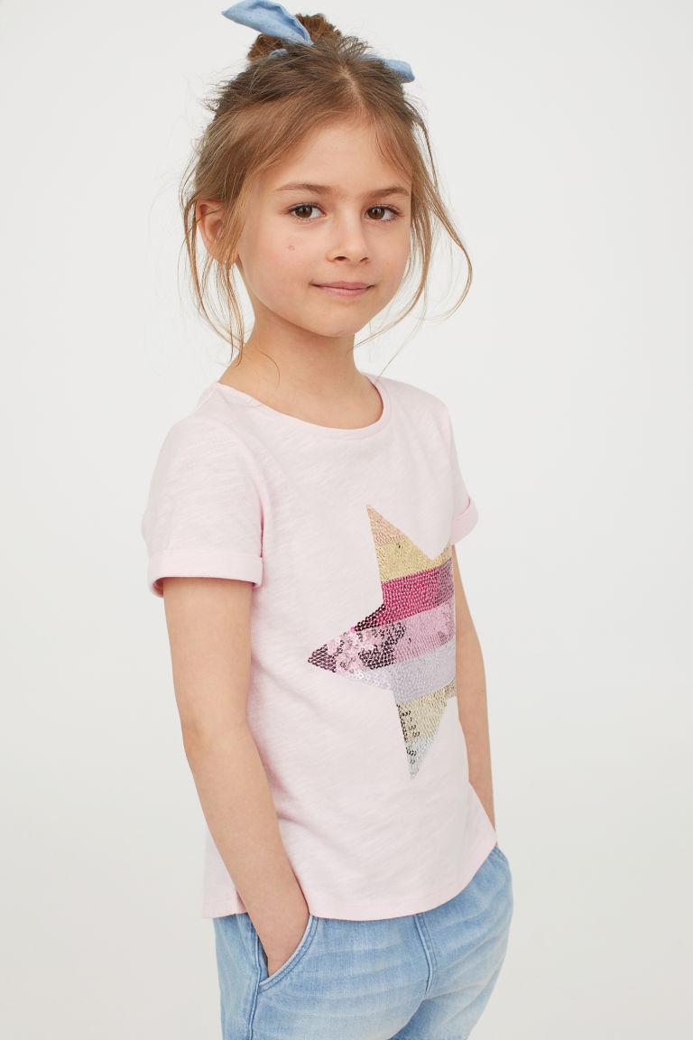 T-shirt z motywem - Różowy/Gwiazda - Dziecko | H&M PL 1