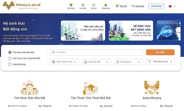 Trang Meeyland thiết kế khoa học giúp khách hàng dễ dàng tìm kiếm thông tin