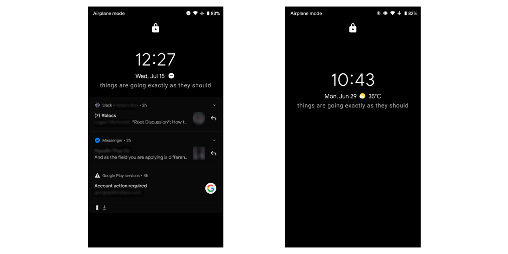 Uncluttered vs cluttered lockscreen on Android