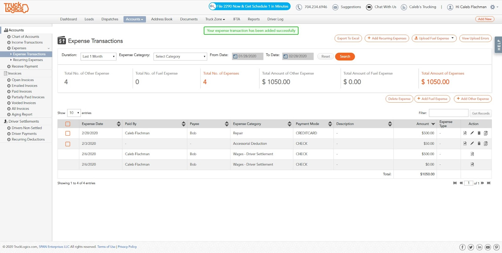 TruckLogics Truck Management Software for expenses