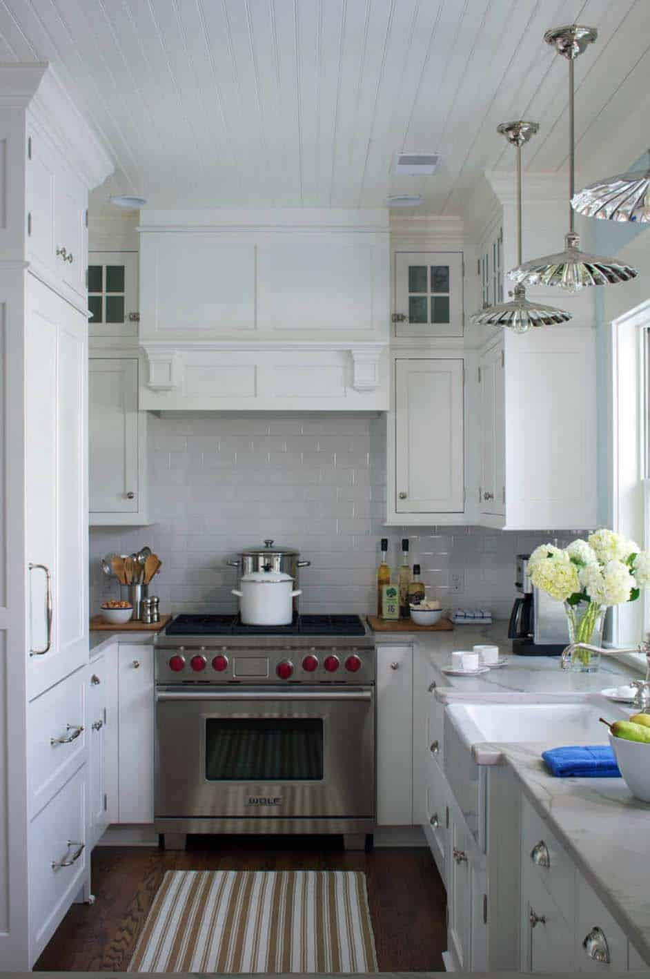 small white farmhouse kitchen with white shaker cabinets