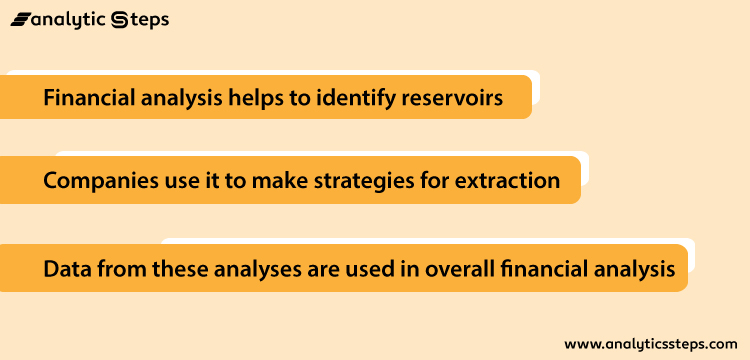 The 3 ways in which financial analytics is used in the petroleum industry are to identify reservoirs, to make strategy for extraction, data from these financial analysis is used in the overall analysis.