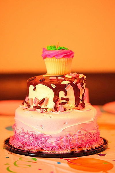 File:Pretty Pink Chocolate 3 Tiered Birthday Party Cake (4824140888).jpg