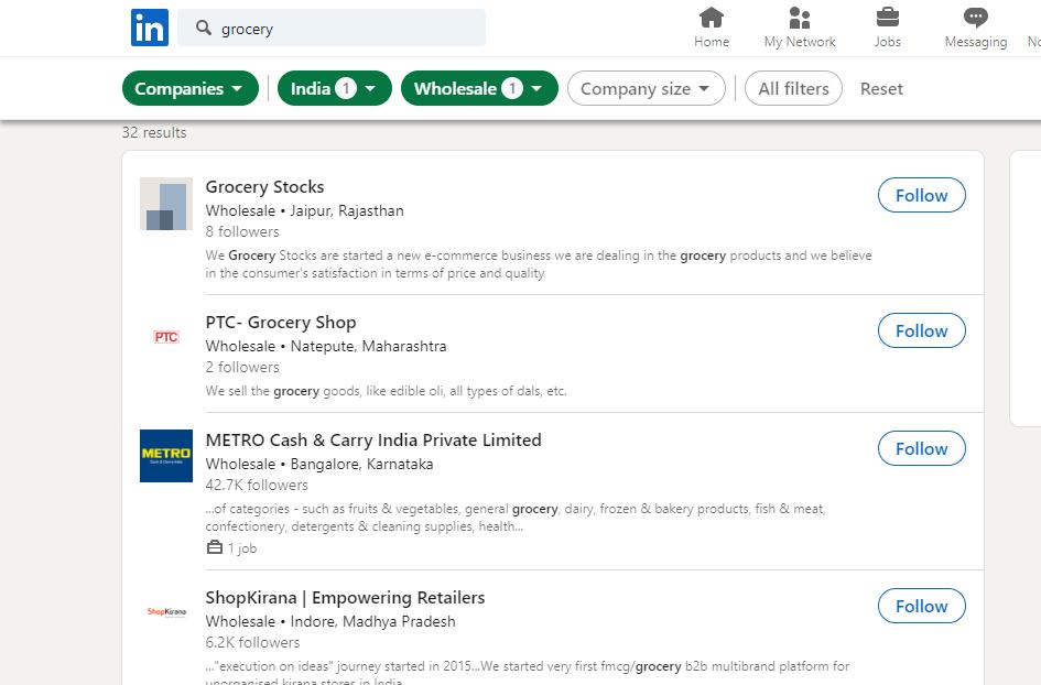 linkedin to find supplier