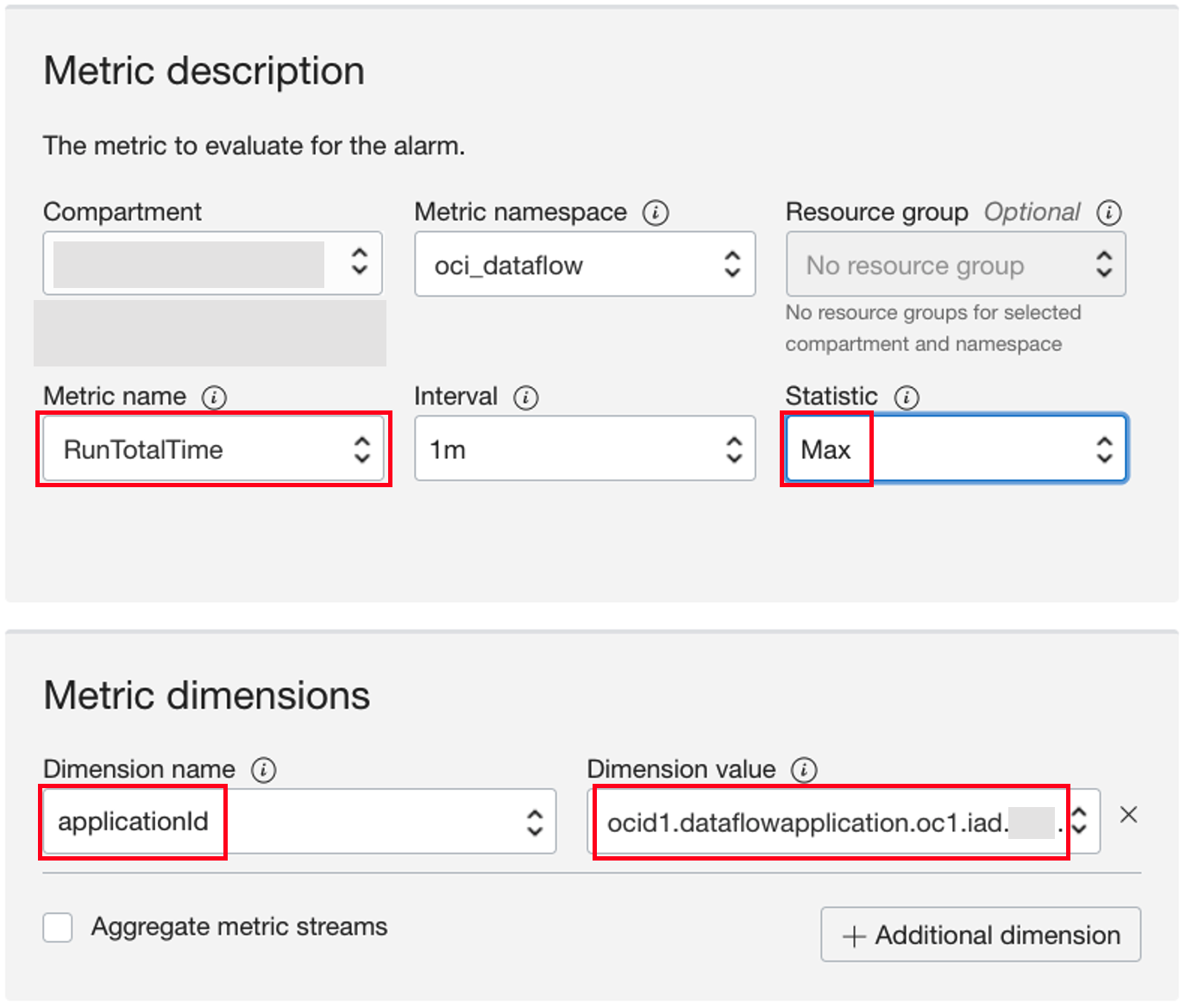 A screenshot of the Metric description page with RunTotalTime, Statistic, Dimension name, and Dimension value sections outlined in red.