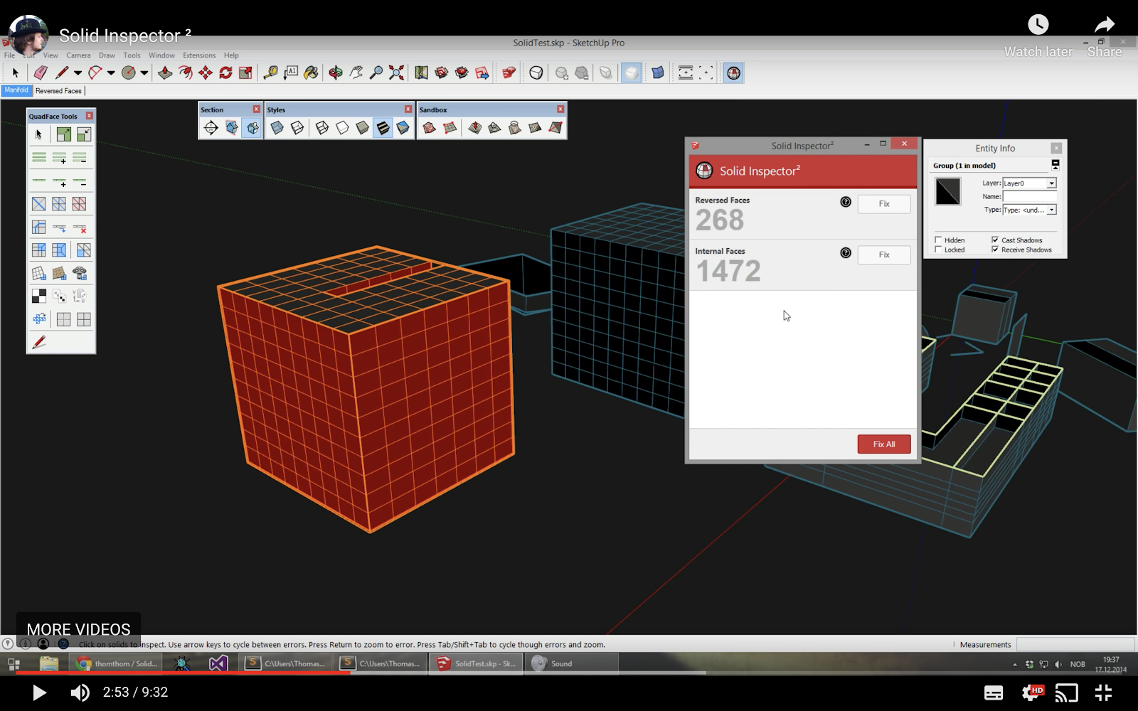 Screenshot of the Solid Inspector2 UI within SketchUp