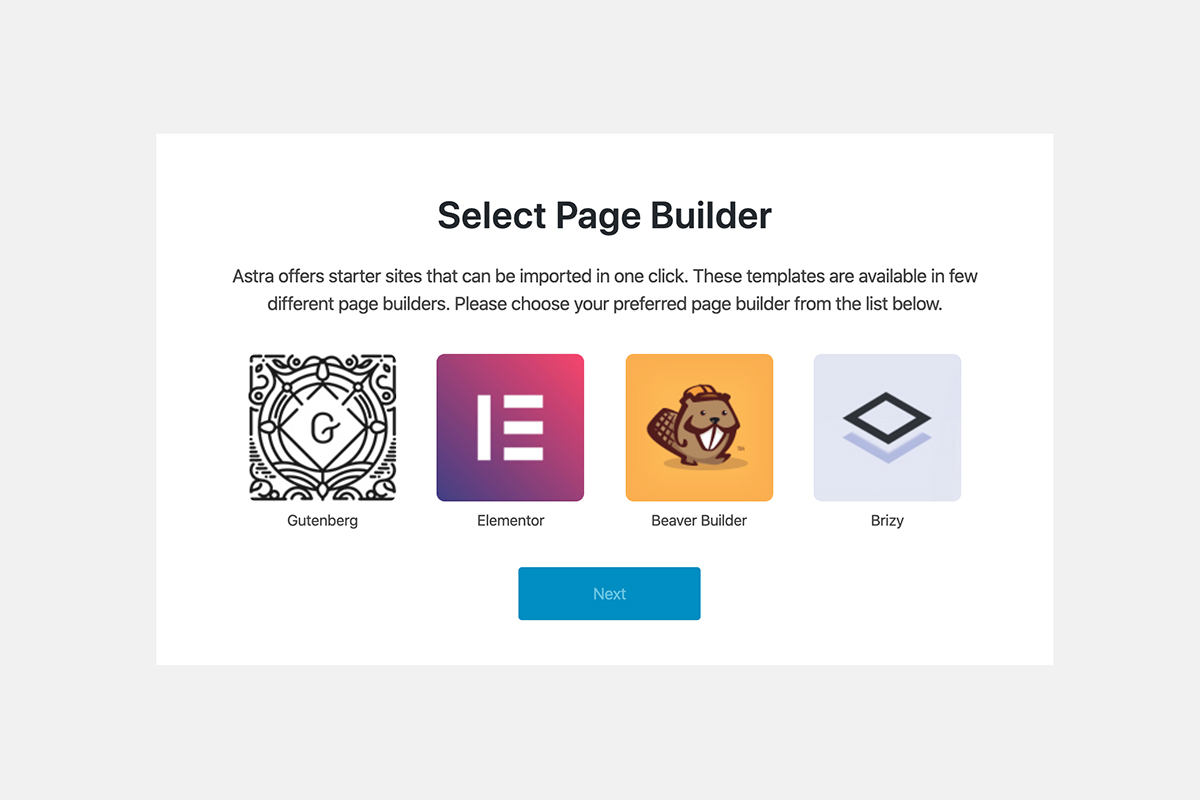 Astra theme choosing a page builder plugin