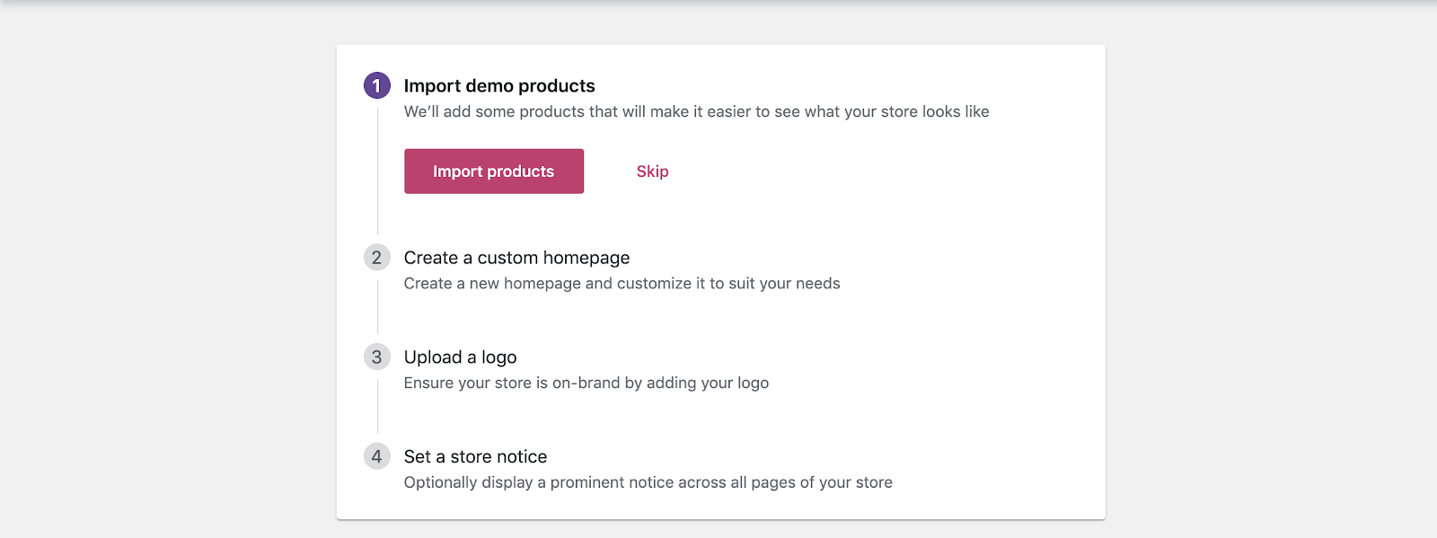 "To Import demo products it the first step in the ""Personlize your store"" section of the Setup Wizard."