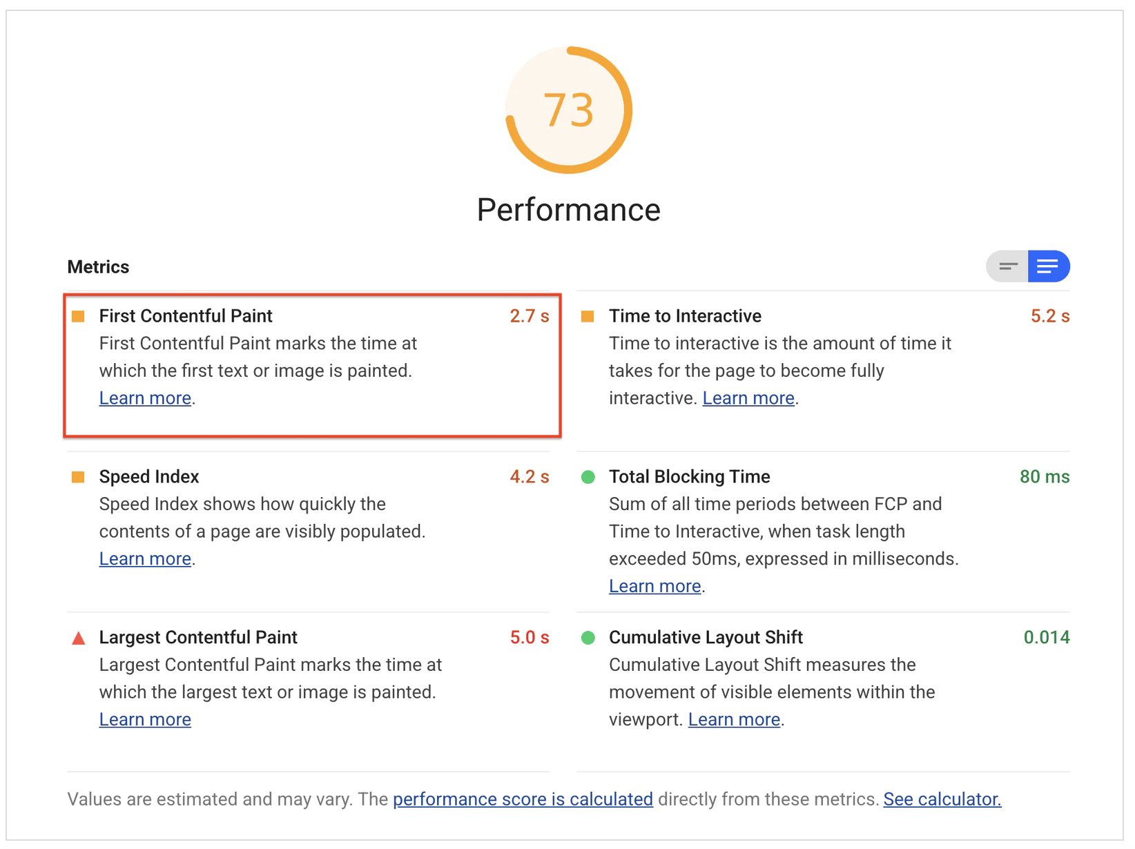 Lighthouse First Contentful Paint performance report