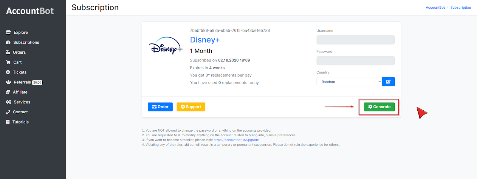 Disney Plus Account Page on AccountBot