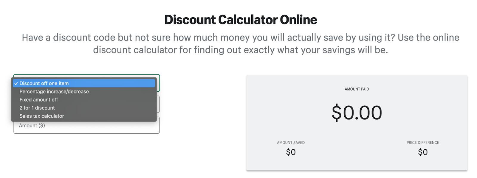 Shopify discount calculator