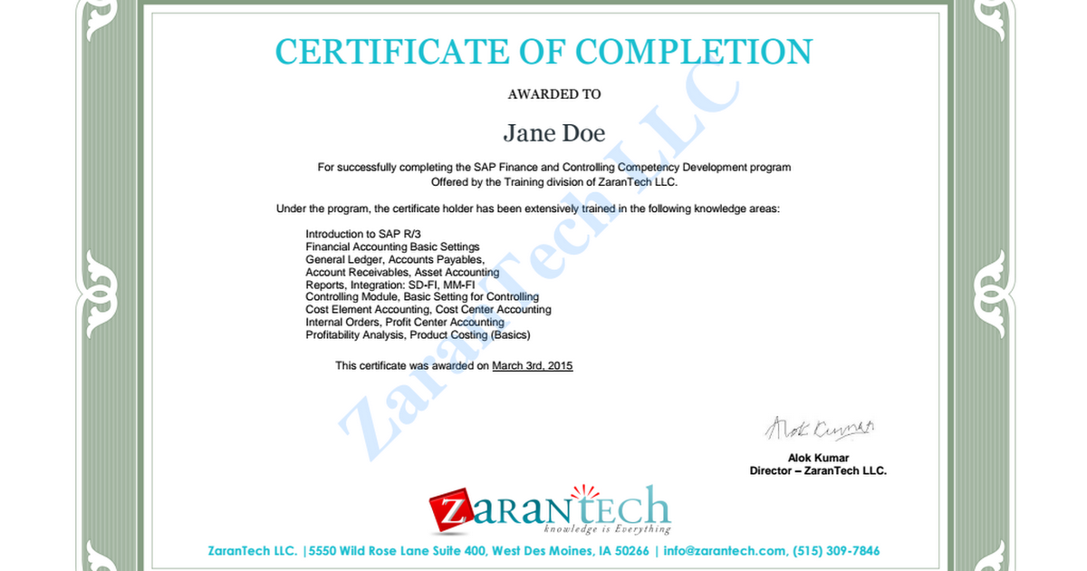 Certificate of Completion - SAP FICO (Sample) pdf - Google Drive