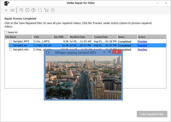 Preview All Repaired File - Stellar Repair for Video