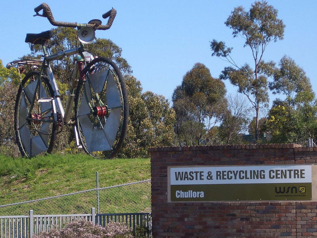The Big Bicycle made out of recycled materials outside a recycling centre