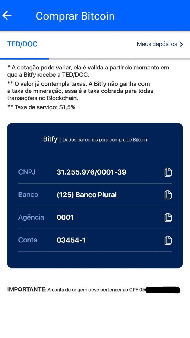 dados bancários da bitfy