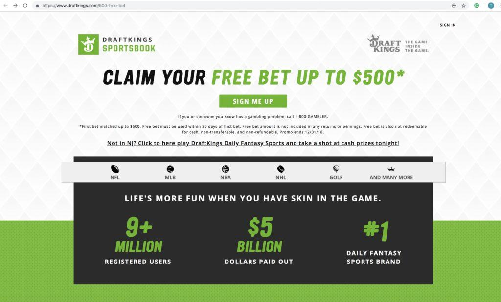 DraftKings sign-up page