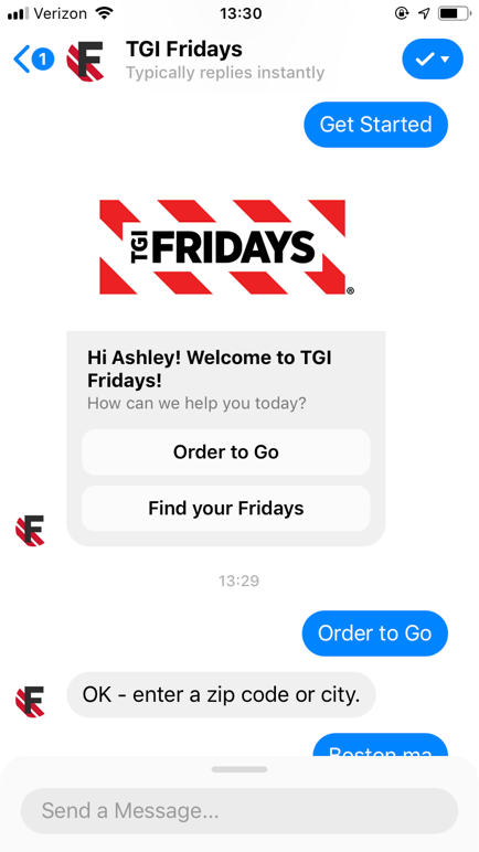popular chatbots tgifridays bot