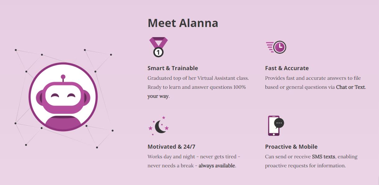 Alanna AI's homepage
