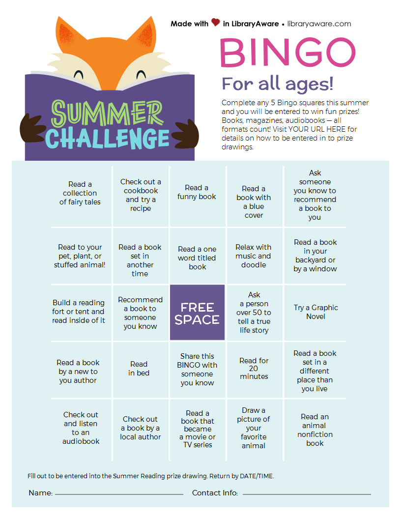 Summer Challenge Bingo for all ages
