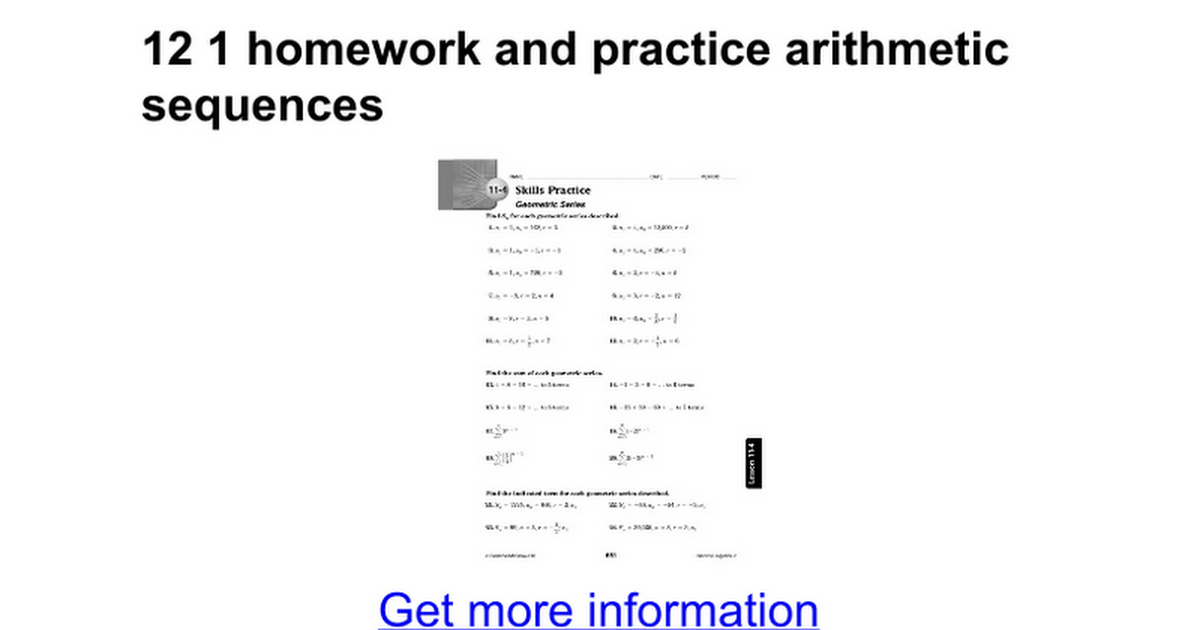 12 1 homework and practice arithmetic sequences Google Docs – Arithmetic and Geometric Sequence Worksheet