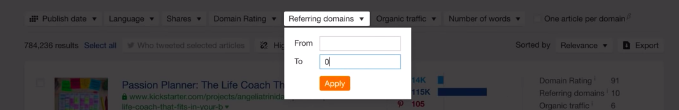 Referring domains filter To field