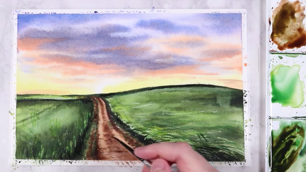 Add all of the small nuances to your watercolor landscape