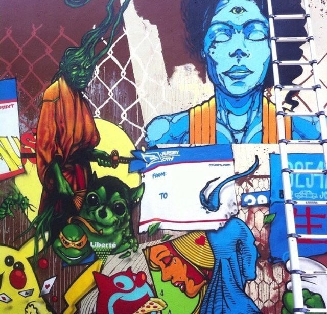 Collaborative mural by AIDS Crew. Barrow St. & Columbus Ave. Photo courtesy of Deep Space Gallery.