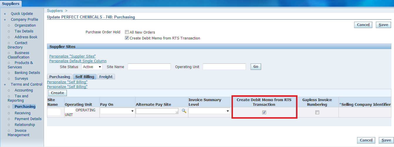 flag create debit memo for rts transactions is checked at vendor site menu purchasing tab self billing