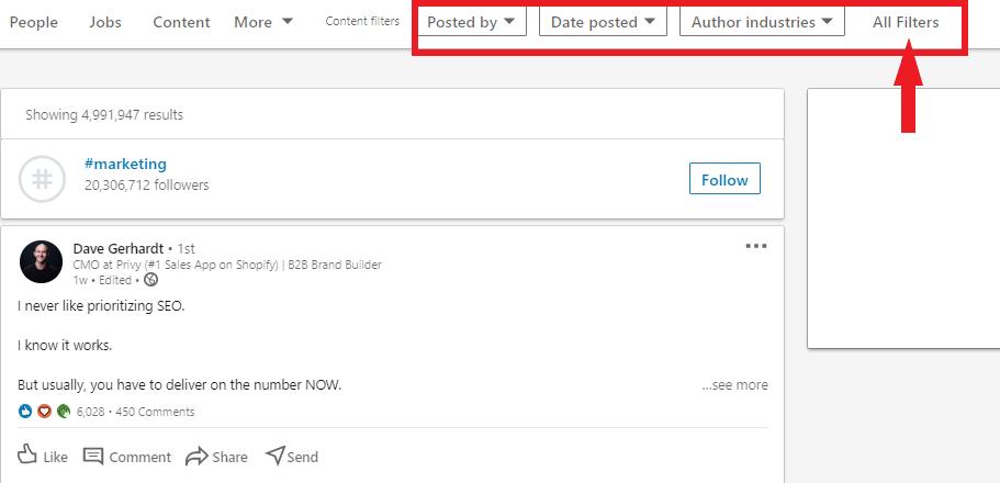 linkedin filter settings