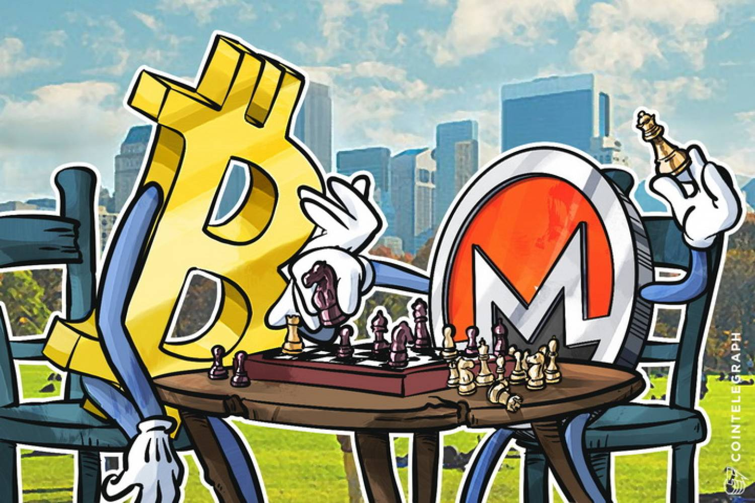 Monero and Bitcoin playing chess