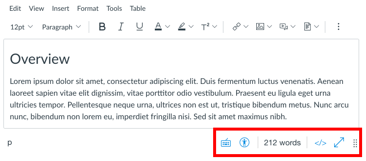 Screenshot highlighting the new location of the accessibility checker and HTML editor in the bottom right corner of the New Rich Content Editor.