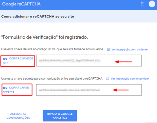 códigos de Chave de Site e Chave Secreta para instalar o Google reCAPTCHA