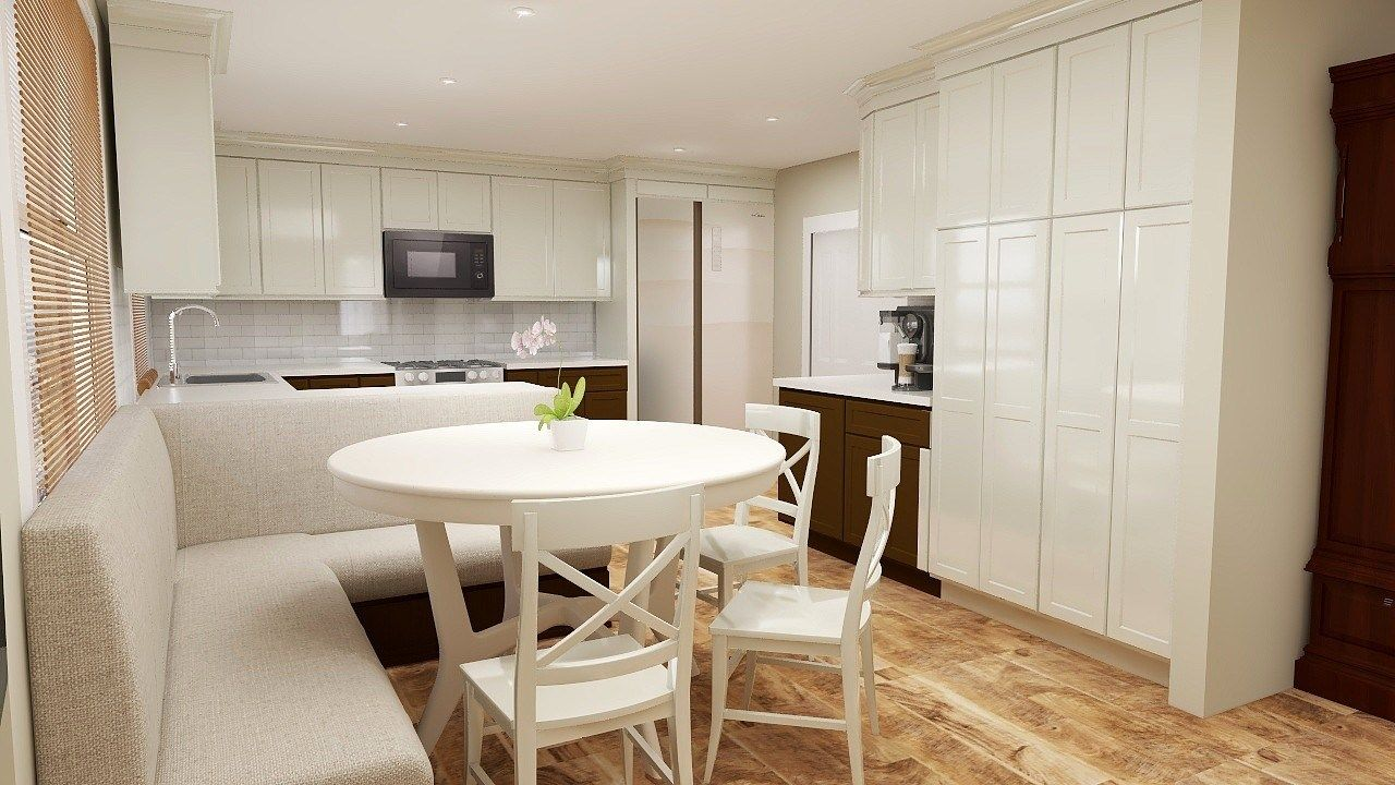 1970s ranch home renovation cream kitchen custom upholstered banquette lots of storage rendering