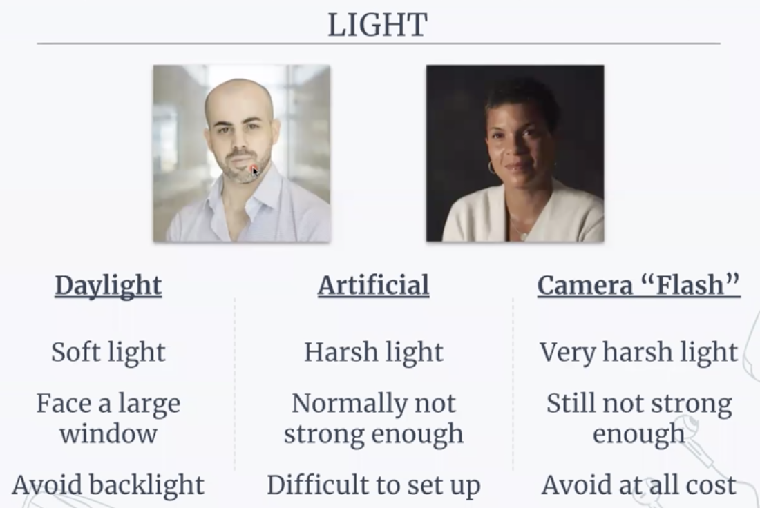 Recommendations for light while filming