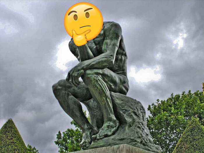 Really makes you think: the thinker statue with the thinking emoji
