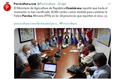 Tuit de Porcicultura.com- Fiebre Porcina Africana