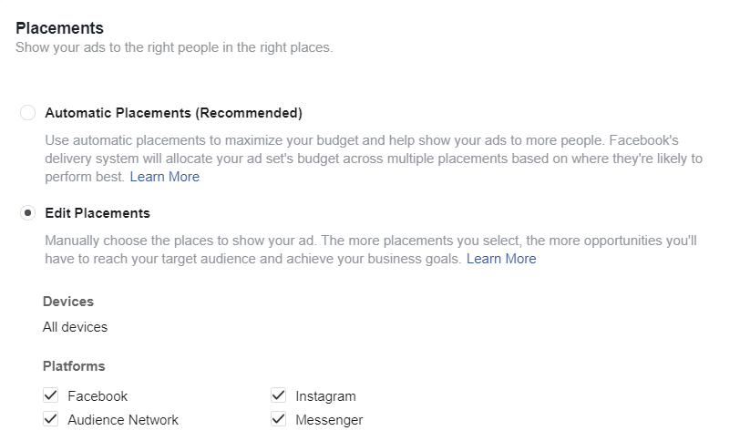 """Placements"" section of Facebook Ad Manager."