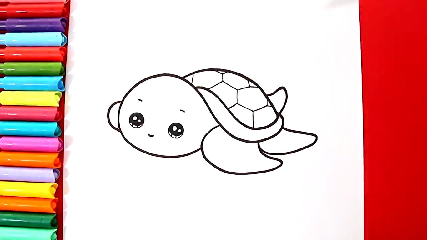 como dibujar una tortuga kawaii