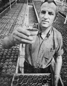 Newspaper photo of Ray in greenhouse