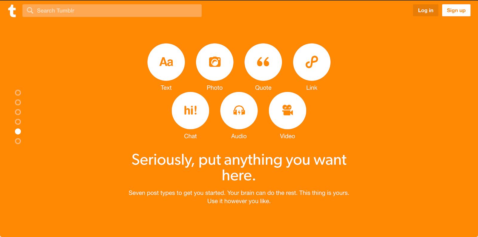 Best blogging platform for microblogging - Tumblr