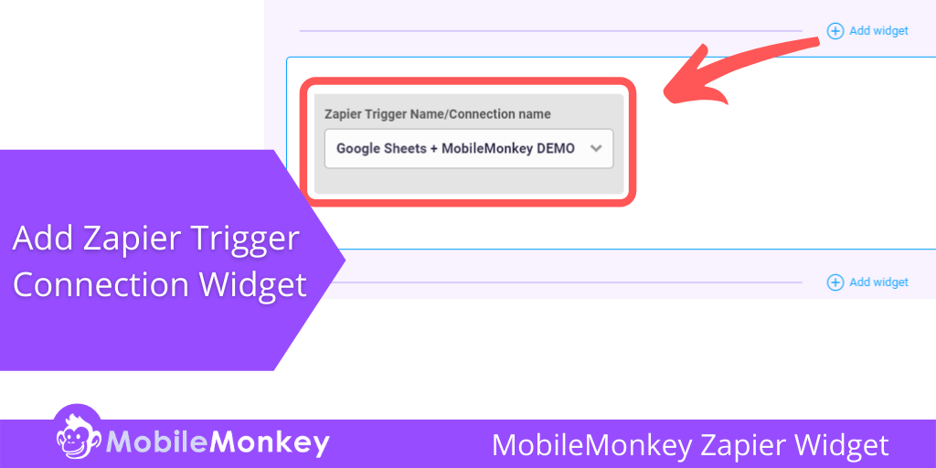 Zapier Trigger Name/Connection name MobileMonkey chat widget