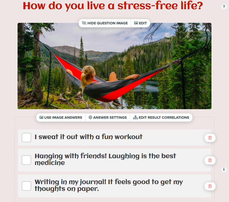 how do you live a stress-free life question with woman sitting in a hammock