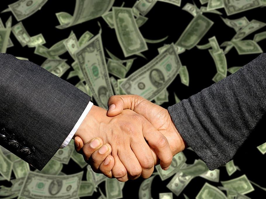 two, person, shaking, hands, conclusion of the contract, handshake, trade, business, profit, dirty money