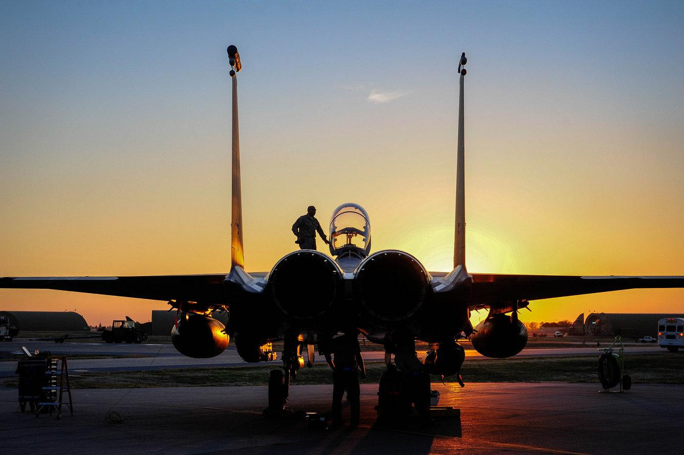 An F-15E Strike Eagle sits on the flightline at Incirlik Air Base, Turkey, Nov. 12, 2015.