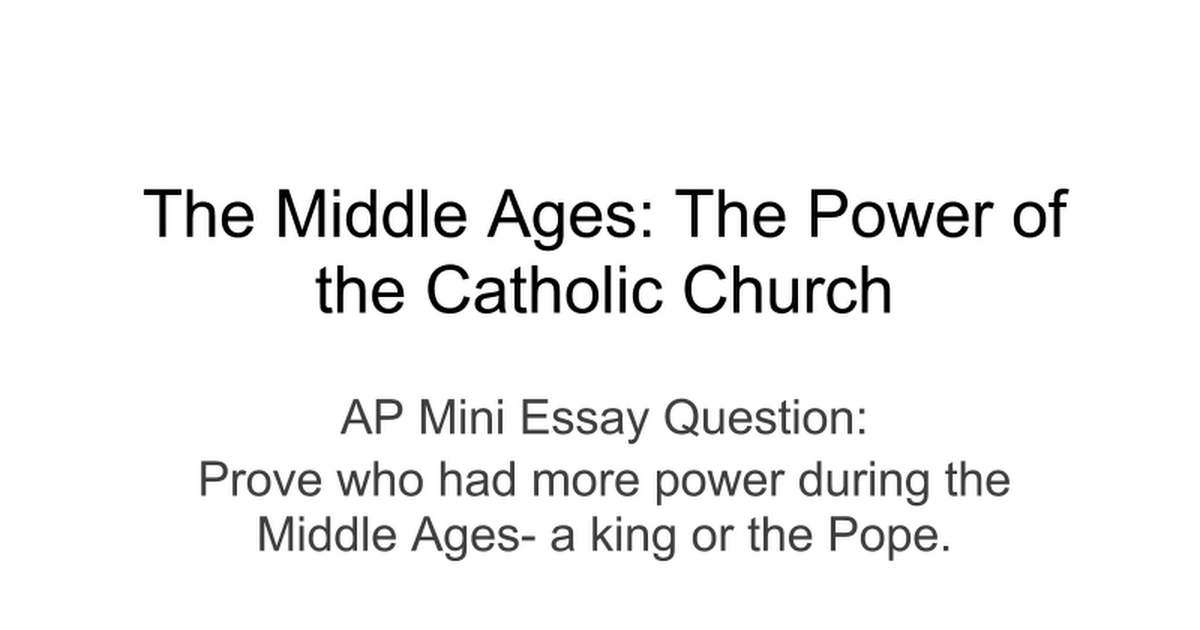Middle ages essay