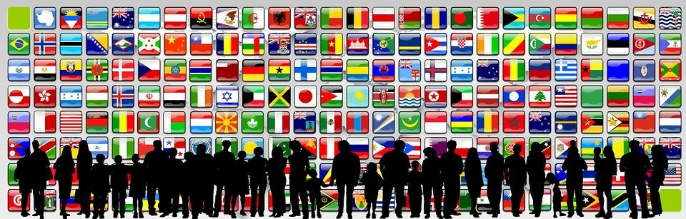 Continents, Flags, Silhouettes, Human, Population