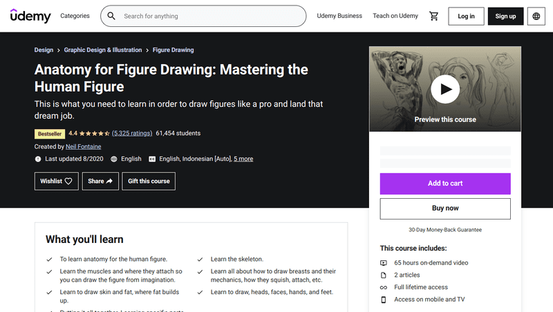 Anatomy for Figure Drawing: Mastering the Human Figure shows you how to master the art of drawing the human figure, which you'll need if you want to work as a concept artist, storyboard artist, or comic book illustrator.