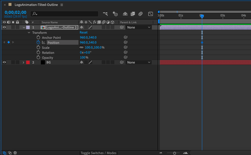 Screenshot of Adobe After Effects timeline panel