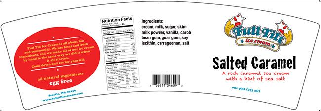 Example of label of one flavor (Salt Caramel) of Full Tilt Ice Cream